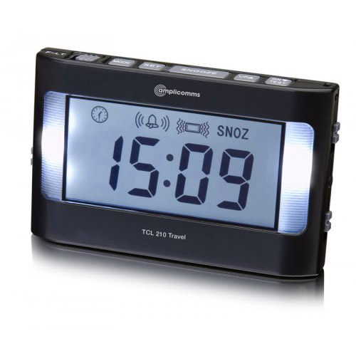 amplicomms tcl 210 vibrating travel alarm clock sports supports mobility. Black Bedroom Furniture Sets. Home Design Ideas