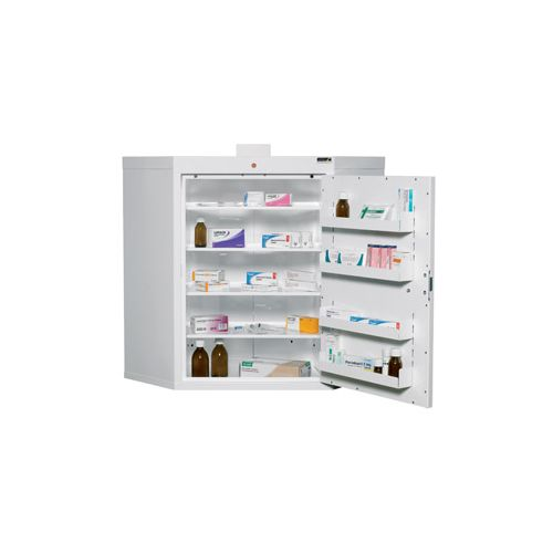 corner medicine cabinet with 4 shelves and 4 trays