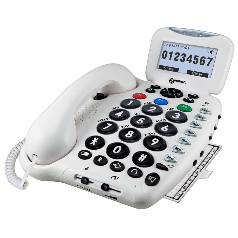 large button telephone with answering machine