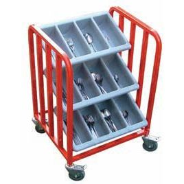 School Canteen 3 Tier Cutlery Storage Trolley