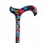 Derby Tea Party Extending Patterned Cane - Black & Blue Floral
