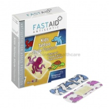 Fast Aid Assorted Antiseptic Kids Tattoo-Style Plasters (Pack of 15)
