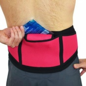 4Dflexisport® Black and Raspberry Lumbar Support Belt with Ice and Heat Pack