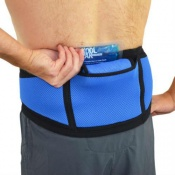 4Dflexisport® Black and Blue Lumbar Support Belt with Ice and Heat Pack