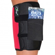 4Dflexisport® Black and Raspberry Calf Support with Ice and Heat Pack