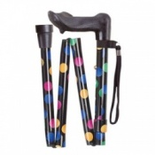Adjustable Folding Anatomical Walking Stick - Multi Dotty