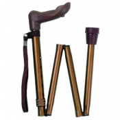 Adjustable Folding Anatomical Walking Stick - Bronze