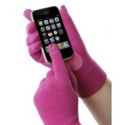 Touchscreen Isotoner Smartouch Gloves in Pink