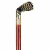 Brass Golf Club Handle 3 Part Walking Stick with Flask