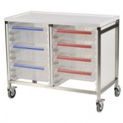 Bristol Maid Low Level Stainless Steel Double Column Caretray Trolley
