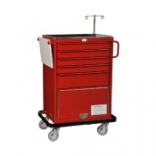 Bristol Maid Emergency Equipment Trolley 4 x 70mm and 1 x 155mm Deep Drawers with Lower Cupboard