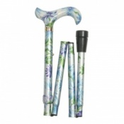 Derby Handle Folding Walking Stick - Blue and Green Floral