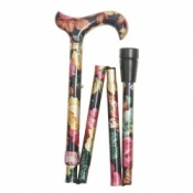 Derby Handle Folding Walking Stick - Multicoloured Floral