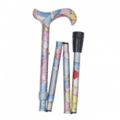 Folding Fashion Derby Walking Stick - Stained Glass Pattern
