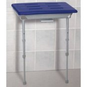 Handicare Floor Supported Shower Seat - Aluminium Frame - Blue Seat