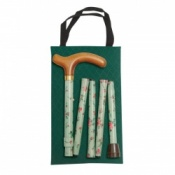 Handbag Sized Folding Walking Stick - Green Floral