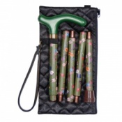 Handbag-Sized Adjustable Folding Green Floral Walking Cane