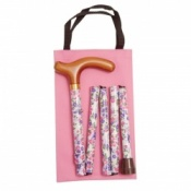 Handbag Sized Folding Walking Stick - Pink and Purple Floral