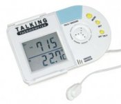 Talking Inside/Outside Thermometer With Talking Alarm Clock