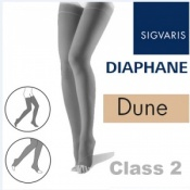 Sigvaris Diaphane Thigh Class 2 Dune Compression Stockings - Open Toe