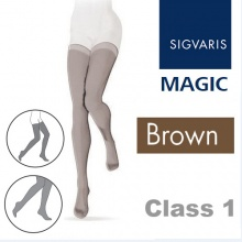Sigvaris Magic Class 1 Thigh High Closed Toe Compression Stockings - Brown
