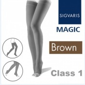 Sigvaris Magic Class 1 Thigh High Open Toe Compression Stockings - Brown