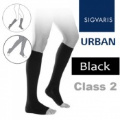 Sigvaris Urban Men's Calf Class 2 Black Open Toe Compression Stockings