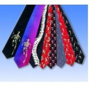 Skeletons Playing Sports Necktie- Red -Silk