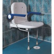 Wall-Mounted Shower Seat with Back and Arm Rests