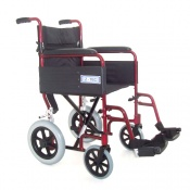 Z-Tec Folding Aluminium Transit Wheelchair in Burgundy