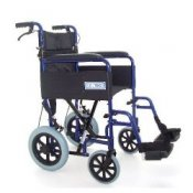 Folding Aluminium Transit Wheelchair in Blue with Attendant Brakes