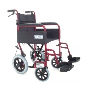 Folding Aluminium Transit Wheelchair in Burgundy with Attendant Brakes