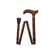 Adjustable Folding Bird's Eye Derby Handle Walking Stick