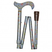 Adjustable Folding Elite Derby Handle Grey-Blue Floral Walking Stick
