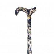 Adjustable Folding Elite Derby Handle Dark Blue Floral Walking Stick