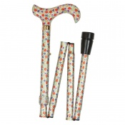 Adjustable Folding Elite Derby Handle Orange and Purple Floral Walking Stick