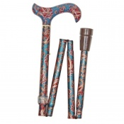 Adjustable Folding Elite Derby Handle Green Paisley Walking Stick