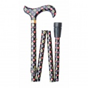 Adjustable Folding Fashion Derby Handle Dots and Daisies Walking Stick