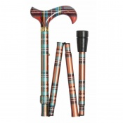 Adjustable Folding Fashion Derby Handle Multi-Coloured Tartan Walking Stick
