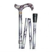 Adjustable Folding Fashion Derby Handle Snakeskin-Patterned Walking Stick