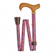 Adjustable Folding Fashion Value Derby Handle Pink Floral Walking Cane