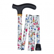 Adjustable Folding Handbag White Sprigged Flowers Walking Stick