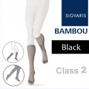 Sigvaris Bambou for Women Calf Class 2 Black Compression Stockings