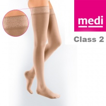 Medi Mediven Elegance Class 2 Beige Thigh Compression Stockings with Top Band