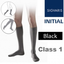 Sigvaris Initial Men's Calf Class 1 Black Compression Stockings