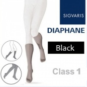 Sigvaris Diaphane Calf Class 1 Closed Toe Compression Stockings - Black