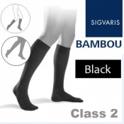 Sigvaris Bambou for Men Calf Class 2 Black Compression Stockings