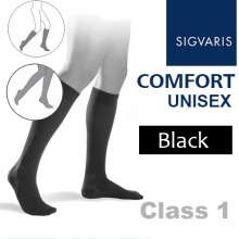 Sigvaris Unisex Comfort Calf Class 1 (RAL) Black Compression Stockings