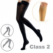 Sigvaris Cotton Class 2 Black Thigh Compression Stockings with Satin Grip Top