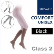 Sigvaris Unisex Comfort Calf Class 2 (RAL) Black Open Toe Compression Stockings